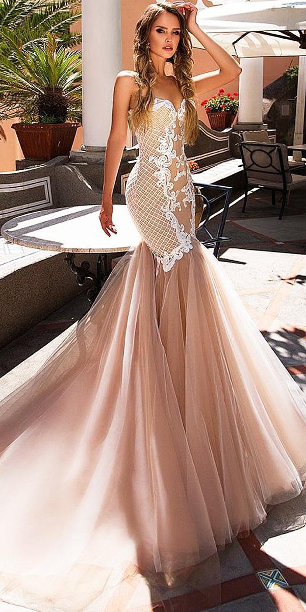 diantamo wedding dresses mermaid sweetheart lace blush