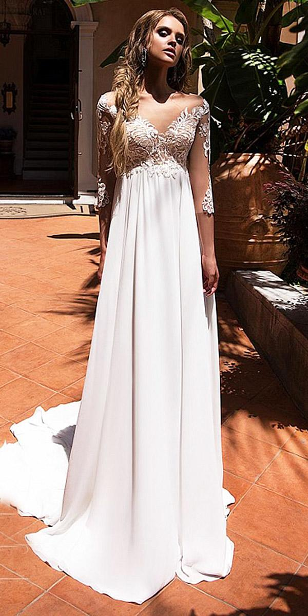 diantamo wedding dresses sheath with illusion sleeves lace satin skirt sexy