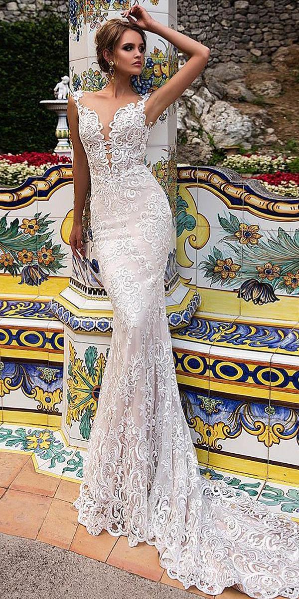 diantamo wedding dresses sheath with spaghetti straps deep v neckline full lace embellishment