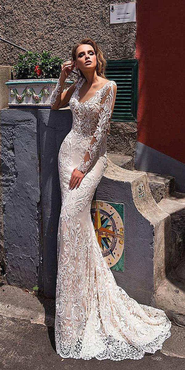 diantamo wedding dresses with illusion sleeves sheath lace embellishment