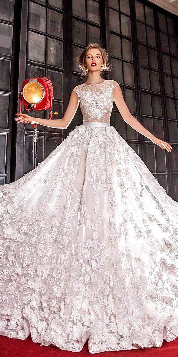 elena vasylkova wedding dresses a line with cap floral appliques