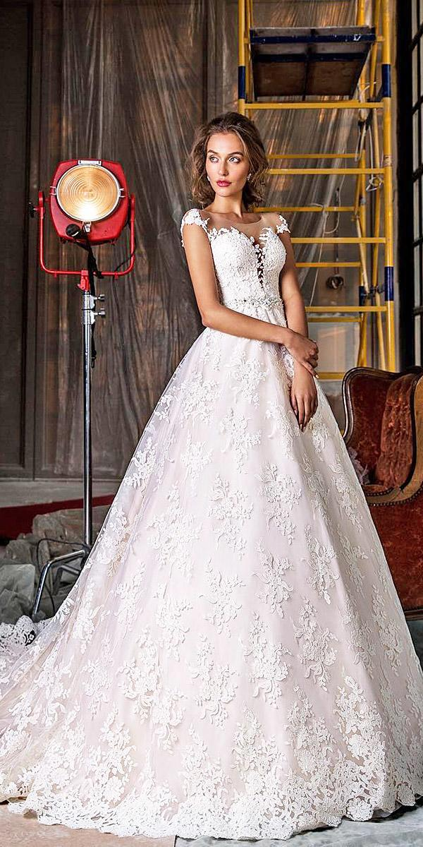 elena vasylkova wedding dresses a line with cap sleeves illusion sweetheart romantic