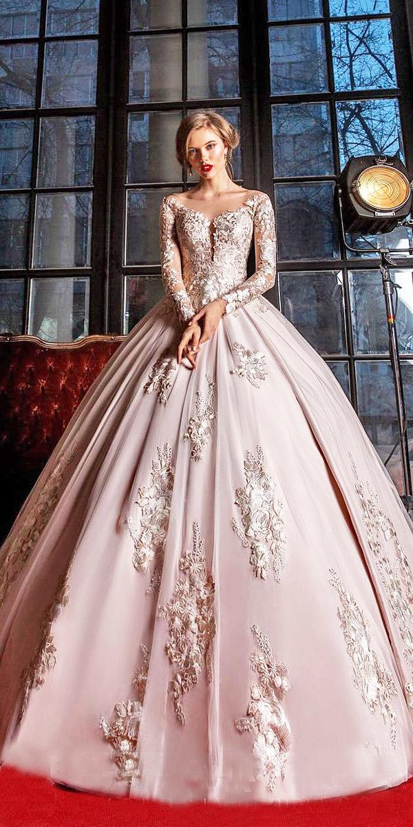elena vasylkova wedding dresses ball gown floral embroidered with long sleeves