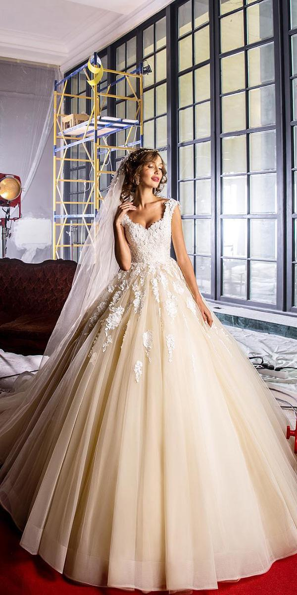 elena vasylkova wedding dresses ball gown with cap sleeves floral appliques beige
