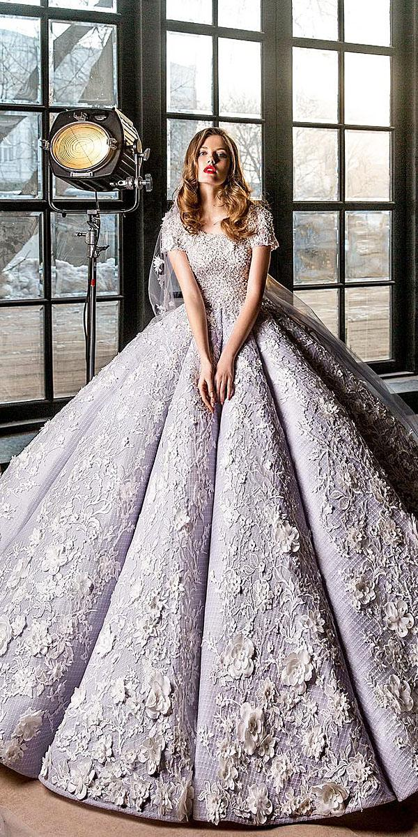 elena vasylkova wedding dresses ball gown with cap sleeves floral appliques unique