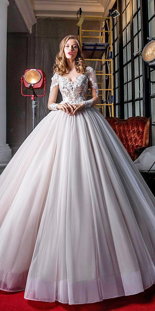 elena vasylkova wedding dresses ball gown with sleeves lace top tulle skir t