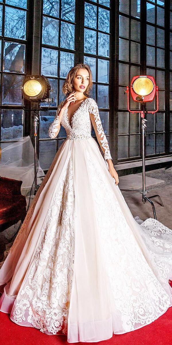 elena vasylkova wedding dresses princess with lace sleeves v neckline