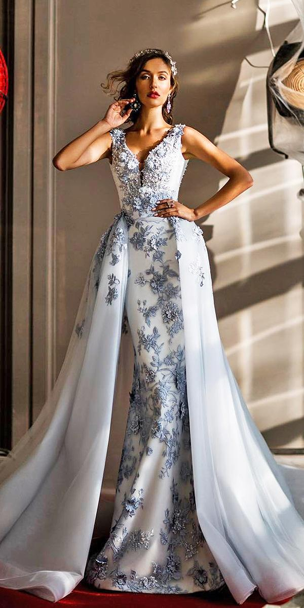 elena vasylkova wedding dresses sheath floral appliques blue overskirt