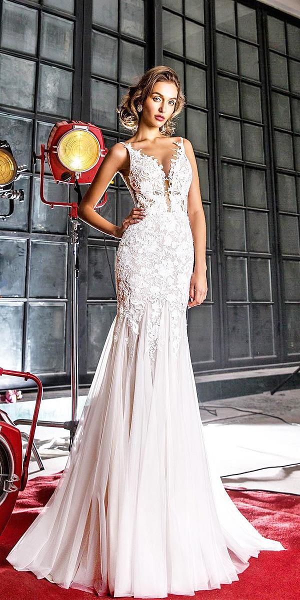 elena vasylkova wedding dresses sheath with spaghetti straps floral embellishment
