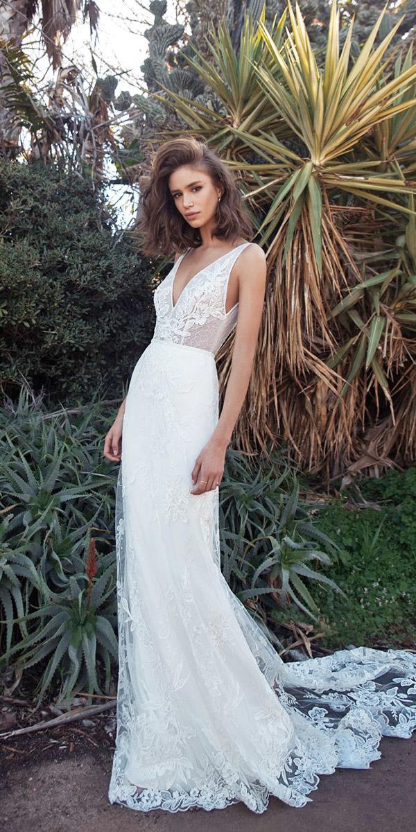 flora wedding dresses sheath deep v neckline floral appliques with train