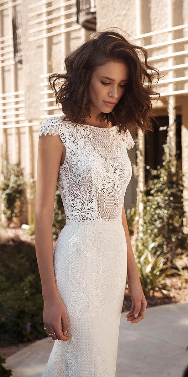 flora wedding dresses sheath with cap sleeves crochet lace beach