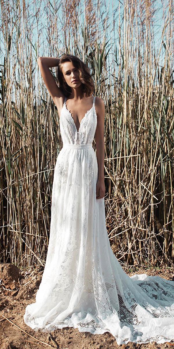 flora wedding dresses sheath with spaghetti straps v neckline floral embellishment