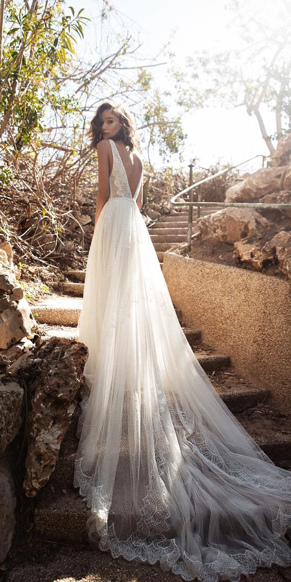 flora wedding dresses v back with train lace chiffon