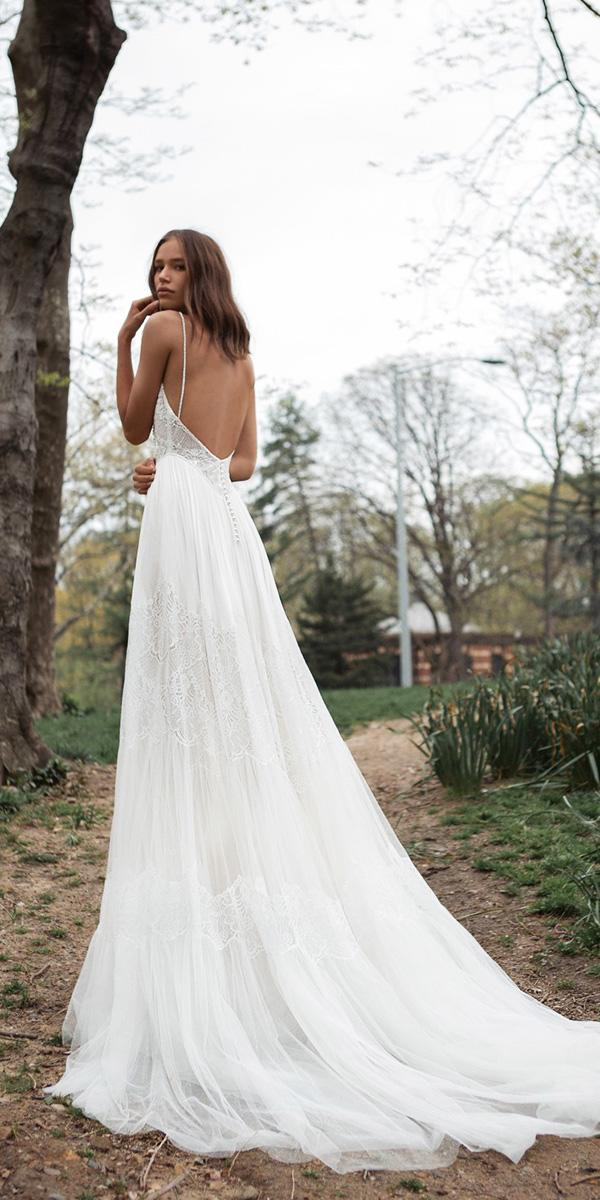 flora wedding dresses with spaghetti straps open back 2018