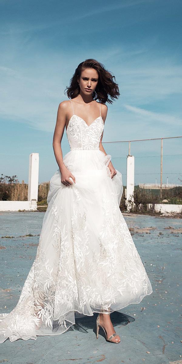 flora wedding dresses with straps floral appliques