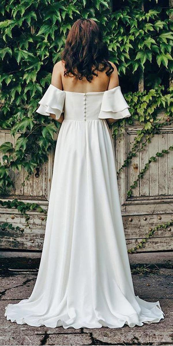 lace back wedding dresses a line off the shoulder with buttons elizabeth dye