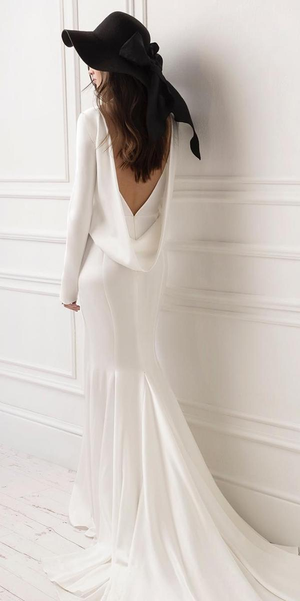 lace-back wedding dresses trumpet open back with long sleeves lihi hod