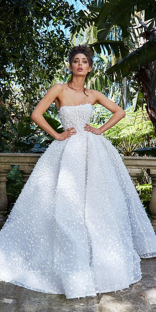 leah da gloria wedding dresses a line straight across floral appliques