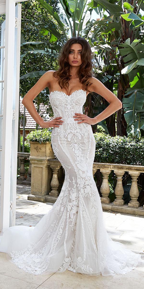 leah da gloria wedding dresses mermaid sweetheart floral appliques
