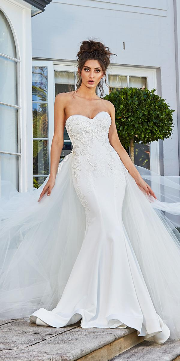 leah da gloria wedding dresses mermaid sweetheart lace embroidered tulle overskirt