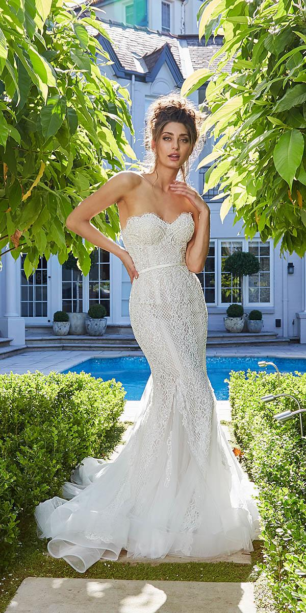 leah da gloria wedding dresses mermaid sweetheart sequin embellishment 2018