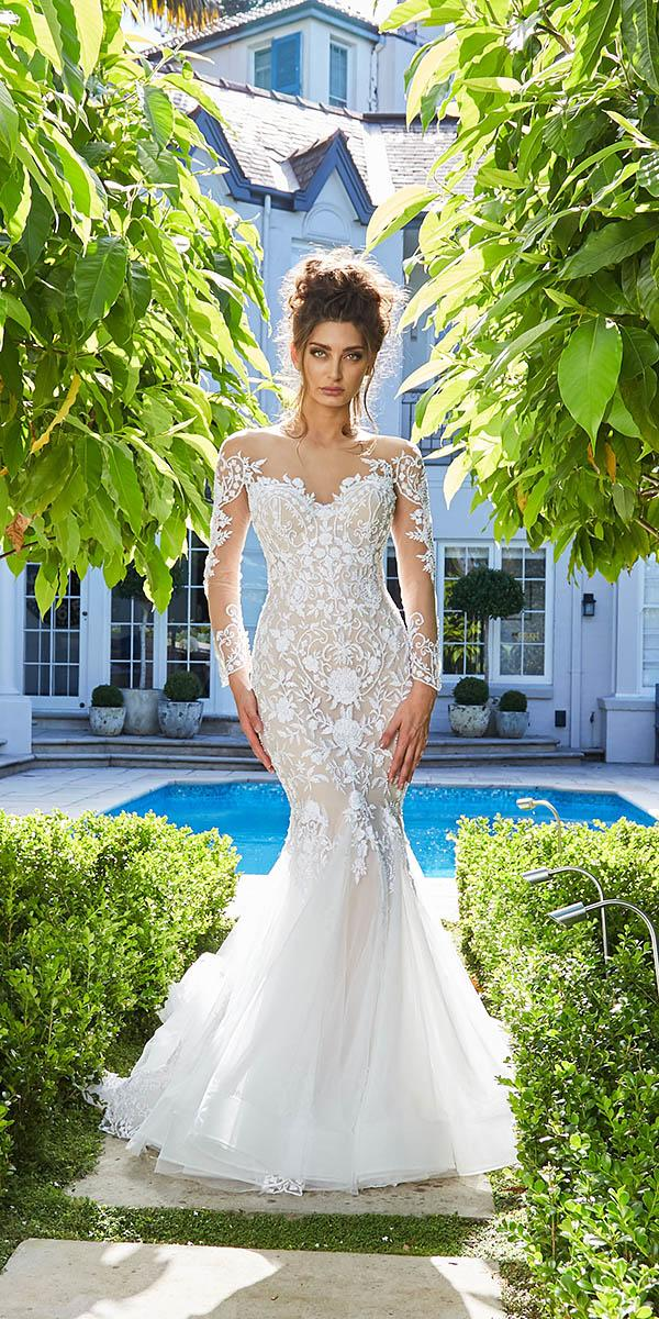 leah da gloria wedding dresses mermaid sweetheart with illusion sleeves lace embroidered