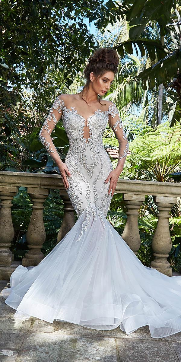 leah da gloria wedding dresses mermaid with illusion lace sleeves beaded floral appliques unique