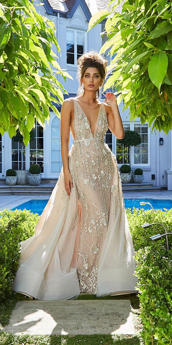 leah da gloria wedding dresses plunging neckline overskirt sequin floral appliques blush
