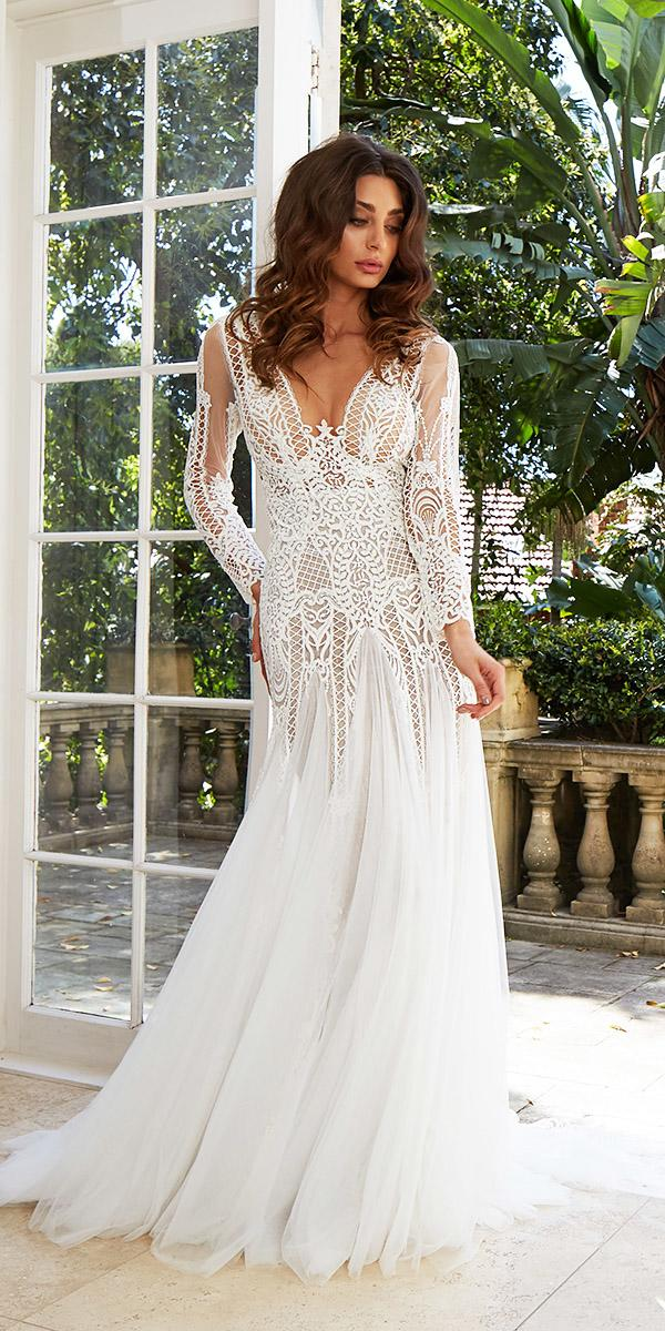 leah da gloria wedding dresses sheath with long sleeves cut out lace chiffon