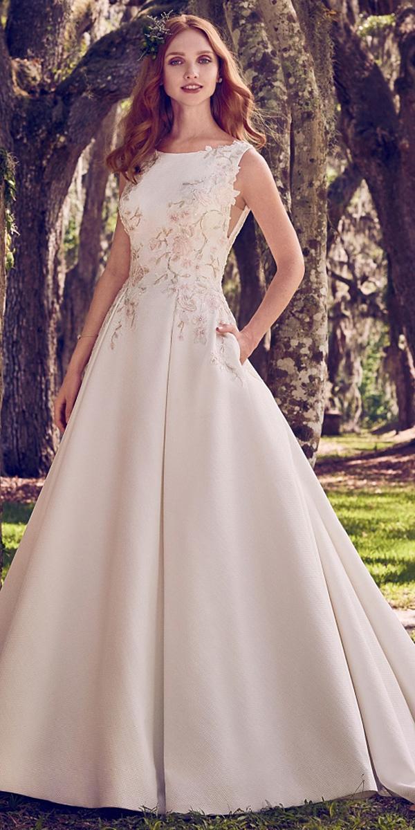 maggie sottero wedding dresses 2018 a line floral appliques satin modest