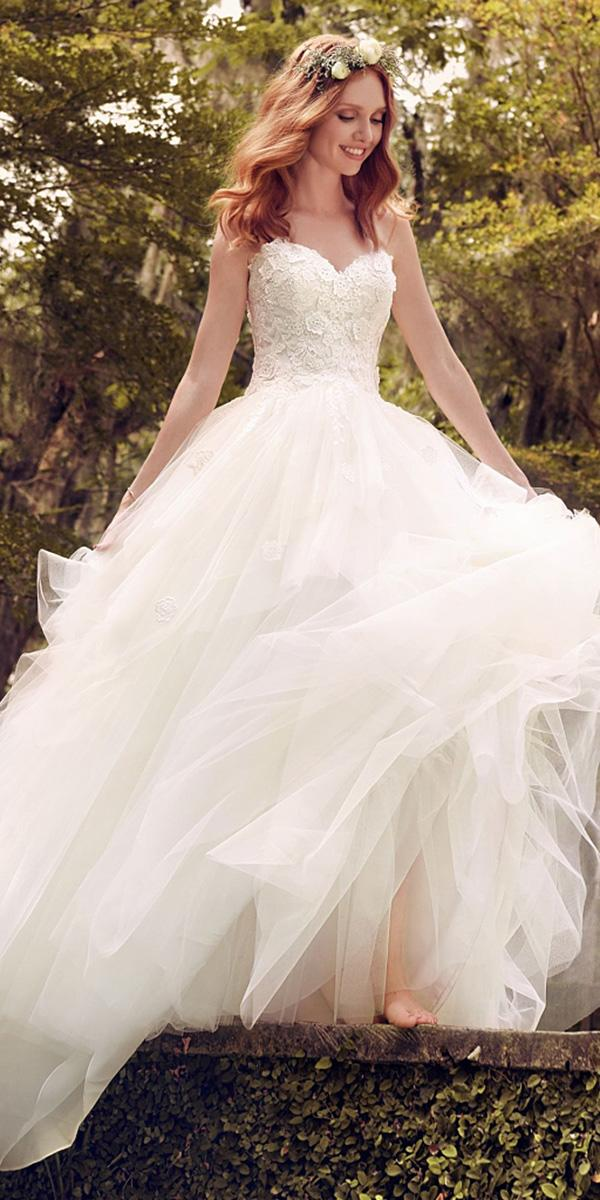 maggie sottero wedding dresses 2018 a line floral appliques tulle skirt