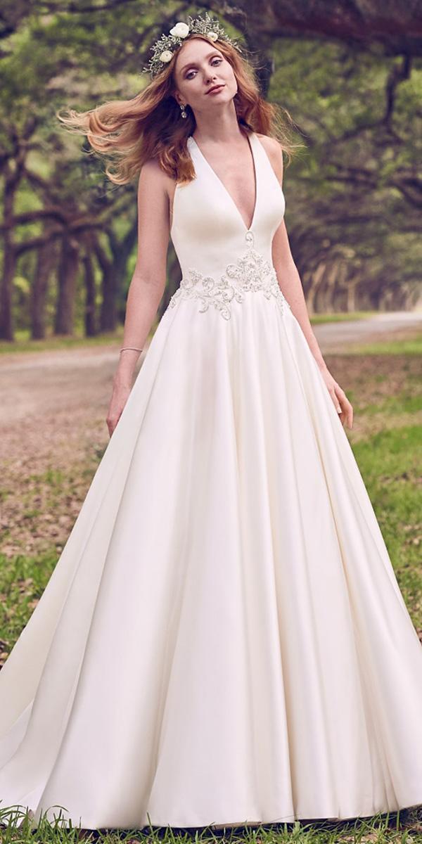 maggie sottero wedding dresses 2018 a line v neckline floral belt simple