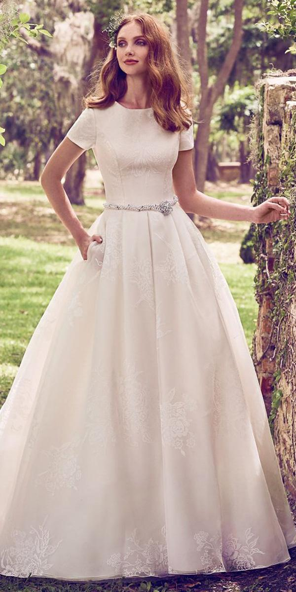 maggie sottero wedding dresses 2018 a line with cap sleeves beaded belt simple