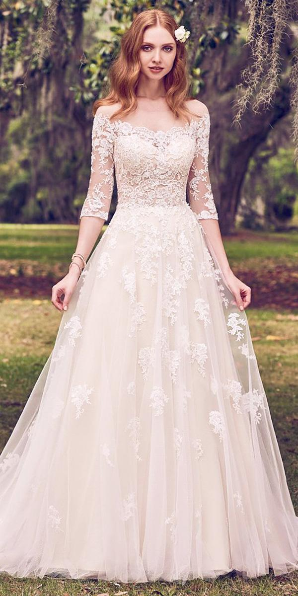 maggie sottero wedding dresses 2018 a line with sleeves floral embellishment