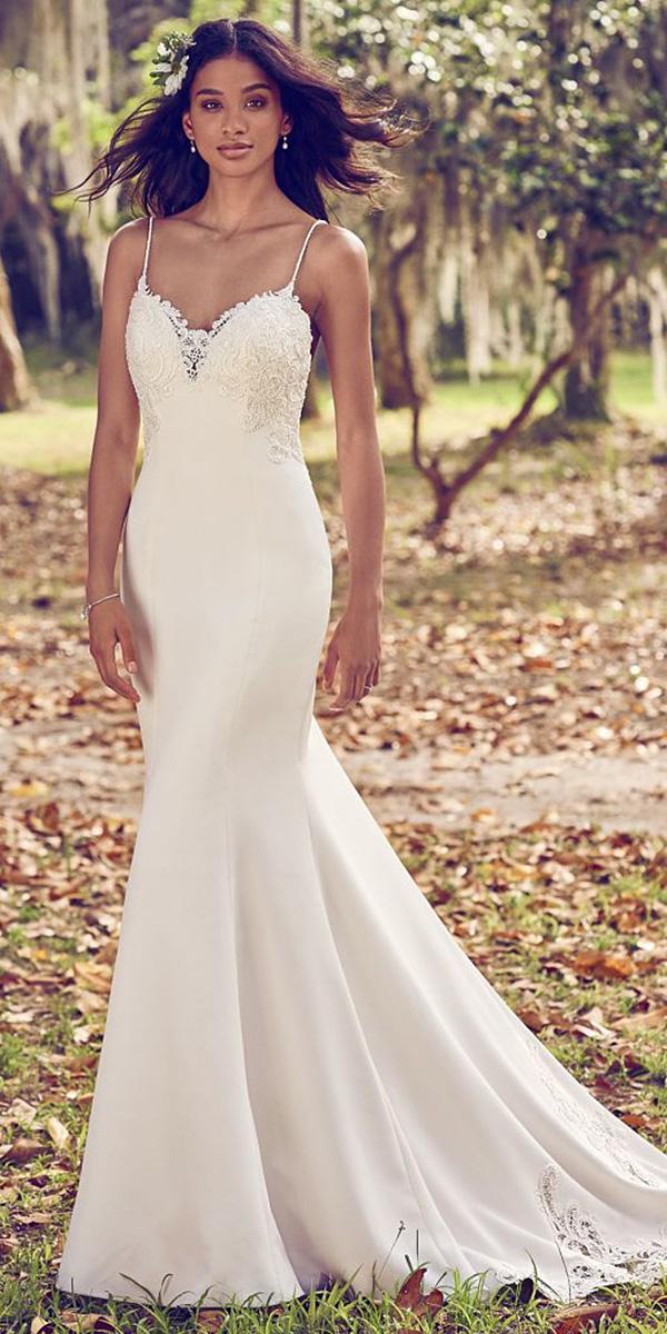 maggie sottero wedding dresses 2018 mermaid with spaghetti straps satin modest