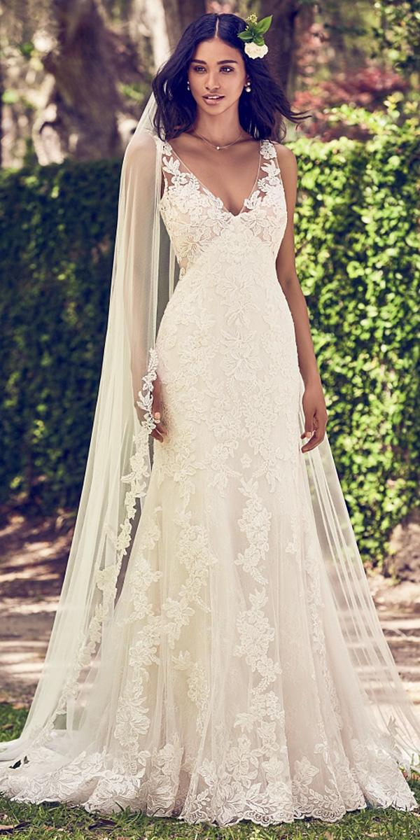 maggie sottero wedding dresses 2018 sheath sweetheart full lace floral embellishment beige