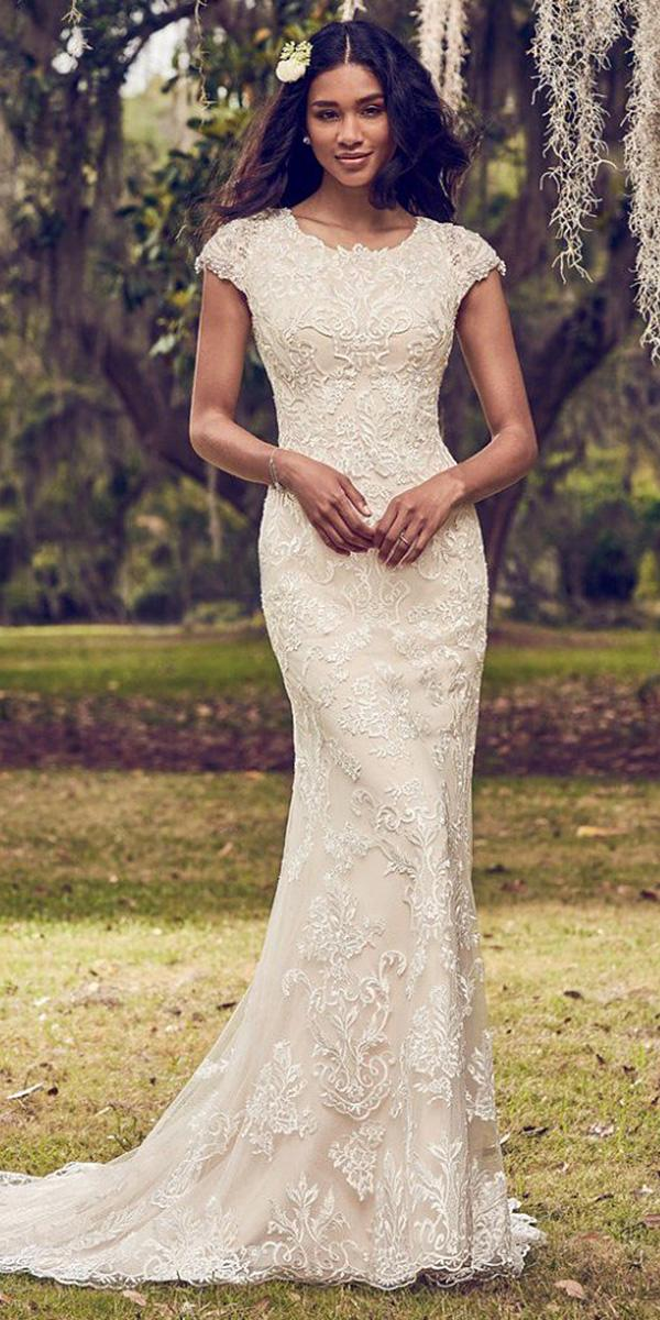 maggie sottero wedding dresses 2018 sheath with cap sleeves lace embellishment