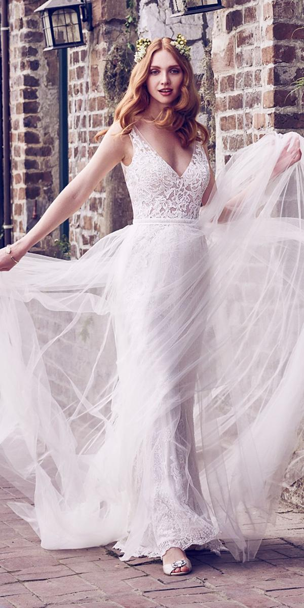 maggie sottero wedding dresses 2018 v neckline tulle skirt lace embroidered