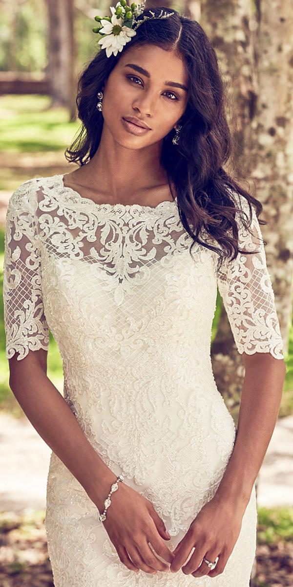 maggie sottero wedding dresses 2018 with three quote sleeves sweetheart lace