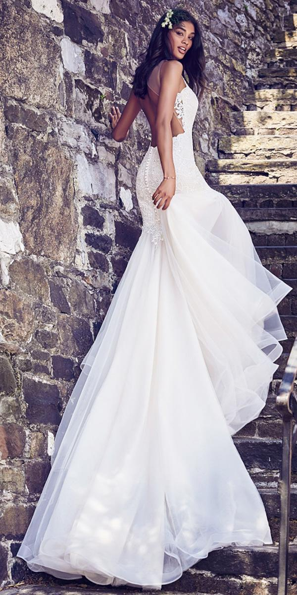 mermaid open back with chiffon train maggie sottero wedding dresses 2018