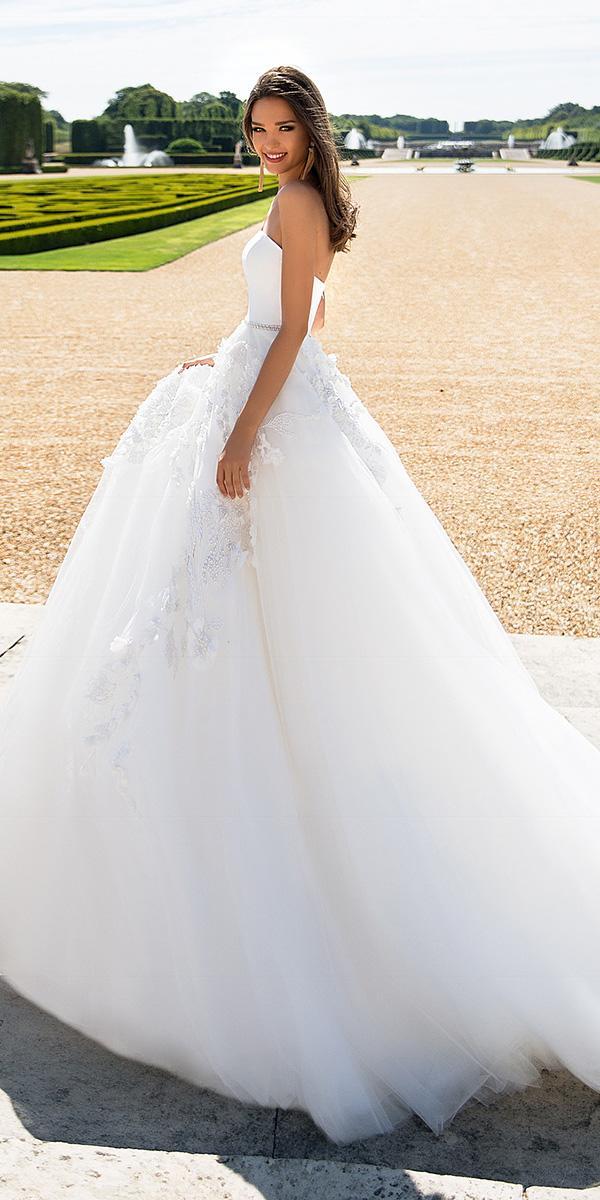 milla nova wedding dresses ball gown beaded belt floral appliques 2018