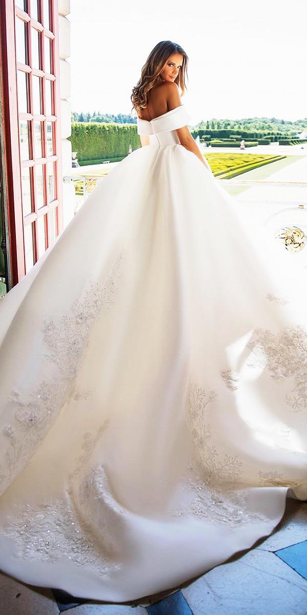 milla nova wedding dresses ball gown off the shoulder floral embroidered simple