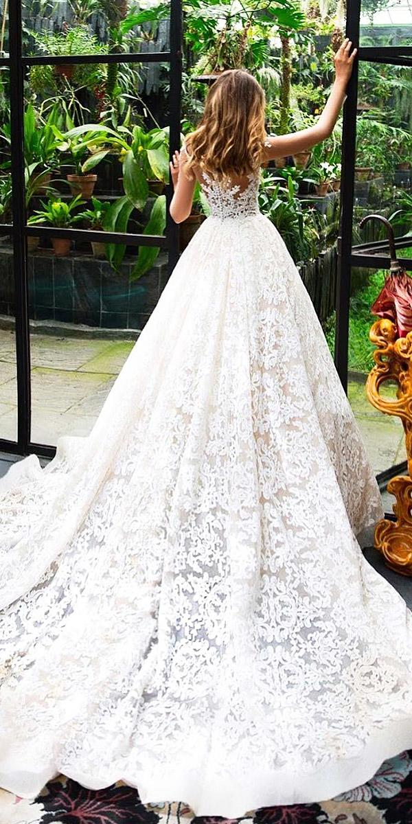 milla nova wedding dresses ball gown tatto effect lace embellishment