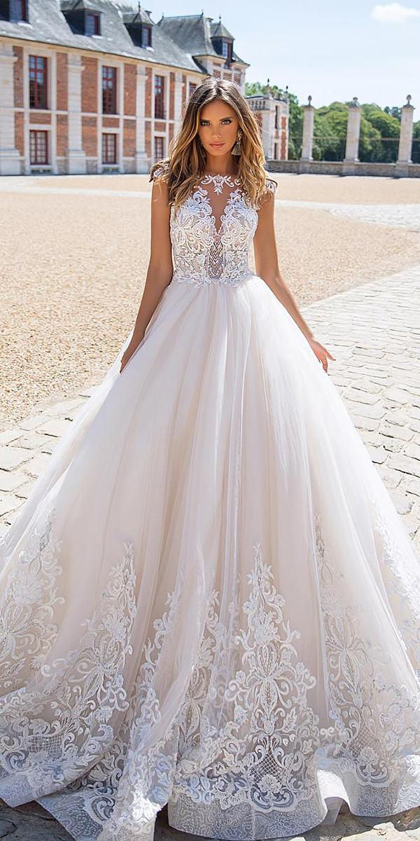 milla nova wedding dresses ball gown with cap sleeves illusion neckline