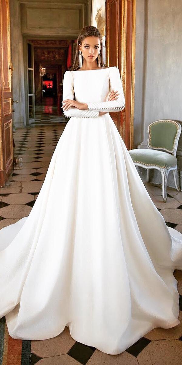 milla nova wedding dresses ball gown with long sleeves with buttons simple