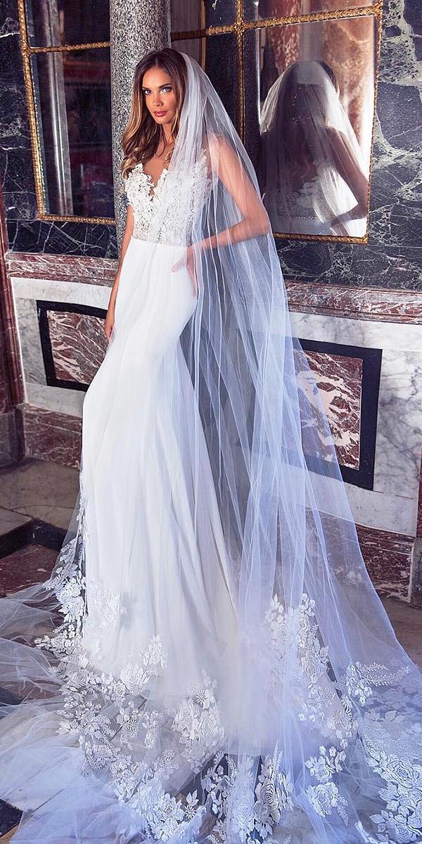 milla nova wedding dresses sheath floral top satin skirt 2018