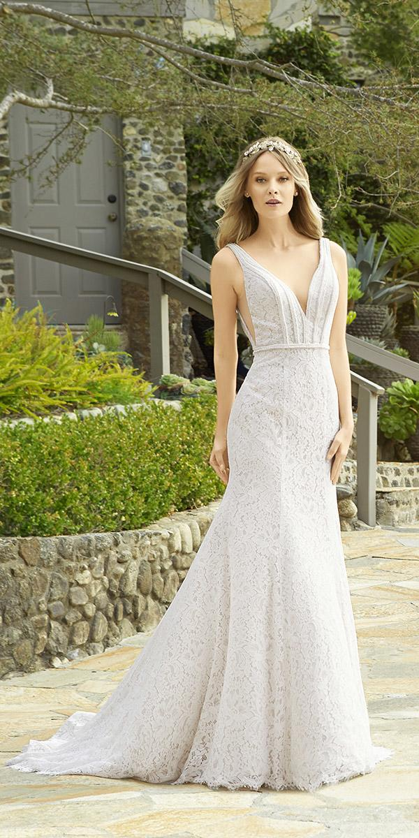 moonlight wedding dresses sheath v neckline full lace embellishment