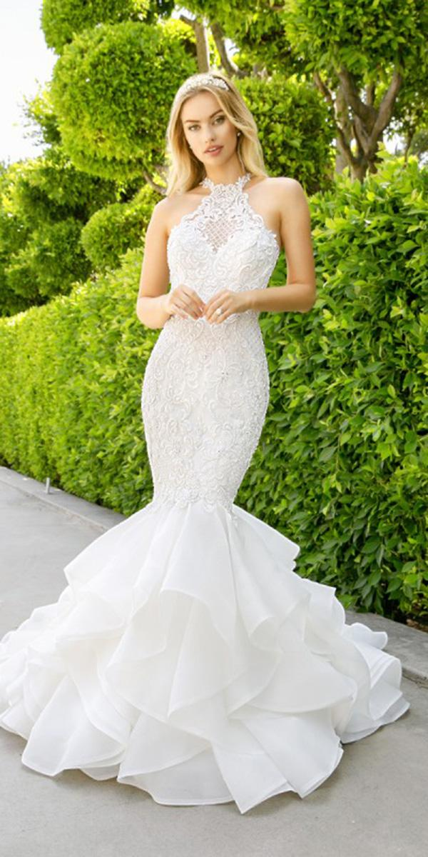 moonlight wedding dresses trumpet halter lace embellishment