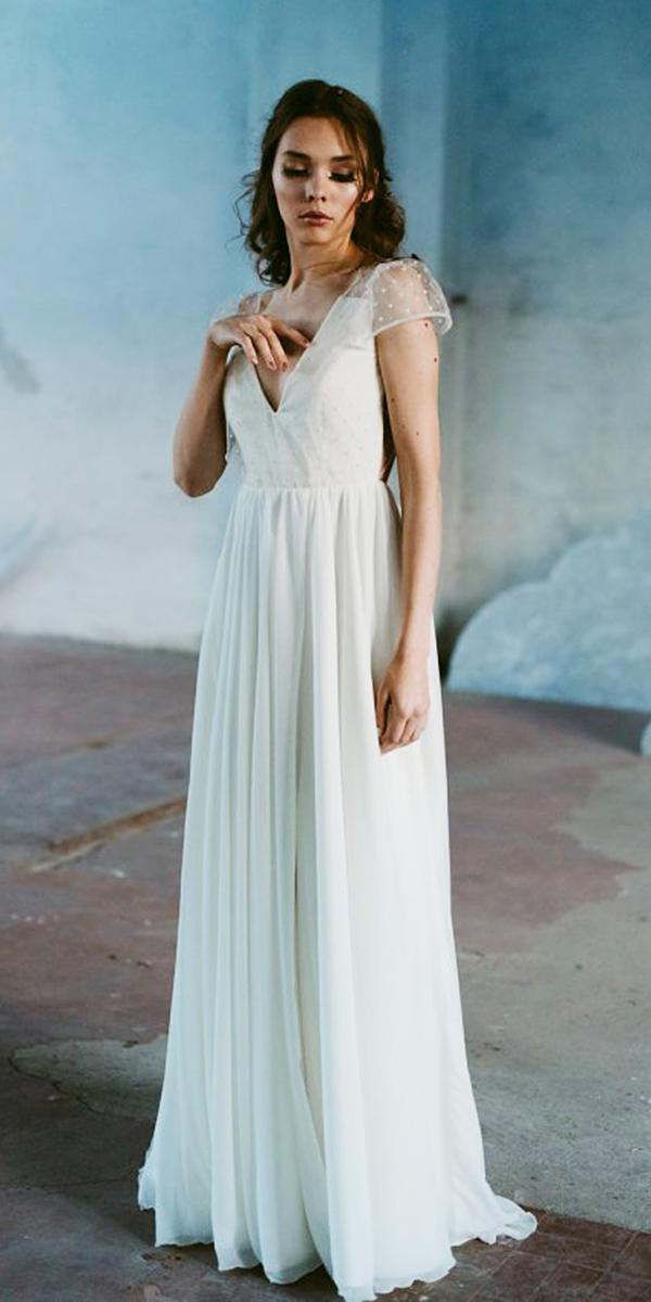 nadia manzato wedding dresses a line with cap sleeeves v neckline polka dot siple