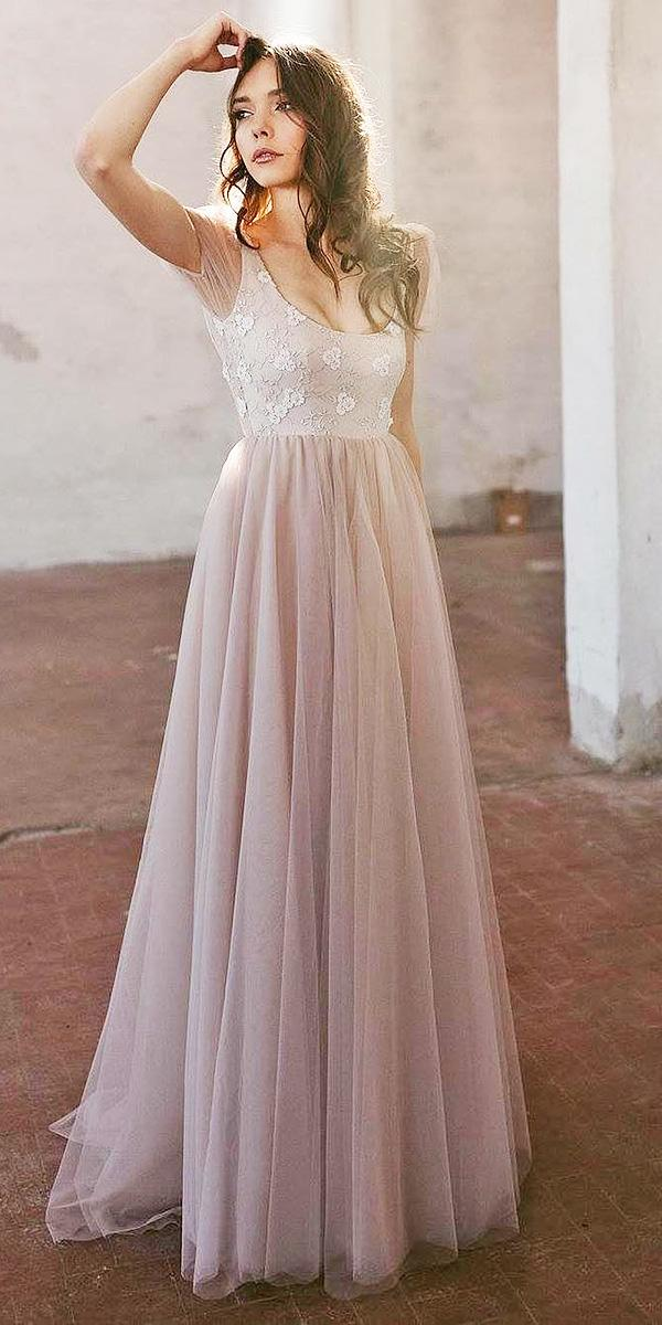 nadia manzato wedding dresses a line with cap sleeves floral top blush